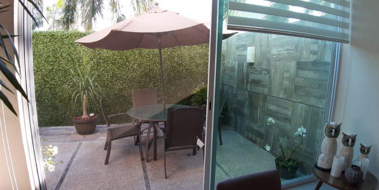 Terrace and umbrella